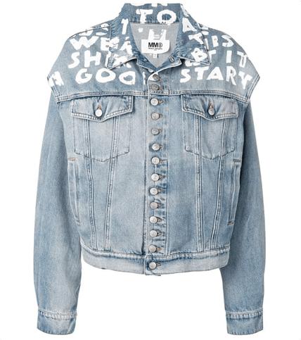 MM6 Maison Margiela Cotton Denim Jacket W/ Open Sleeves HKD$3,880