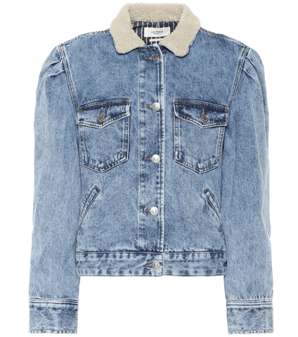 Isabel Marant Étoile 'Nolinea' Faux Shearling Collar Puff Sleeve Denim Jacket' HKD$4,330