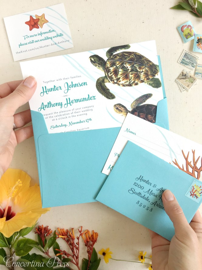 Sea Turtle Wedding Invitations