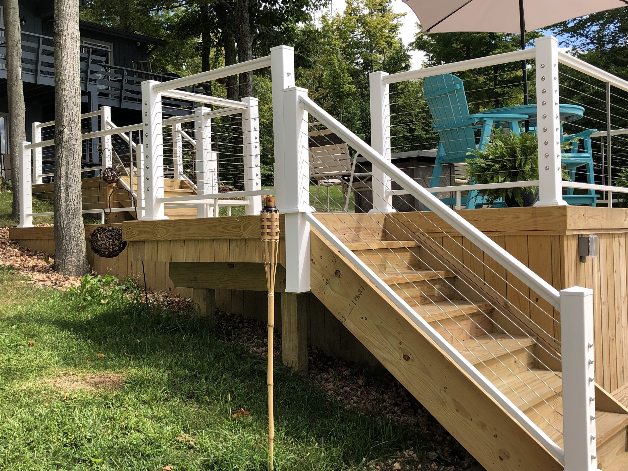 Aluminum Stair Railing For Cable Rail — Color Guard Railing Systems   Wood And Cable Stair Railing   Stairway   Wrought Iron   Staircase Railing   White   Vertical