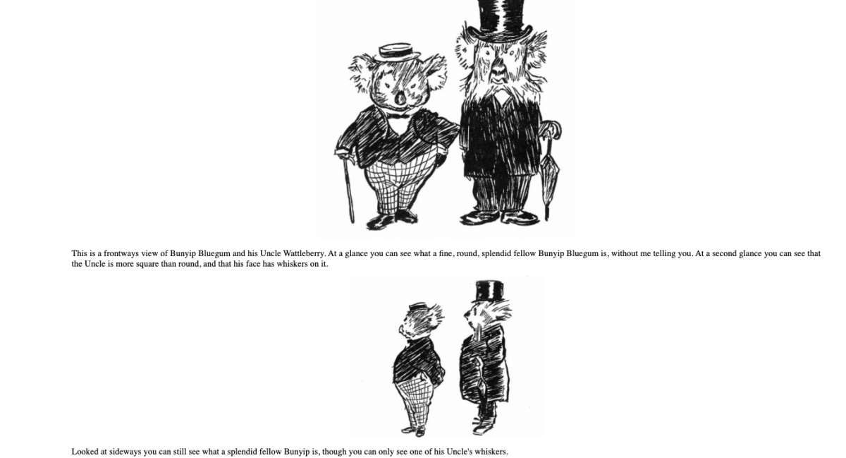 """This page from the opening of """"The Magic Pudding"""" shows how well the text and drawings are intertwined. Image from Project Gutenberg."""