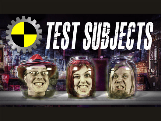three human heads in jars smiling, the test subjects