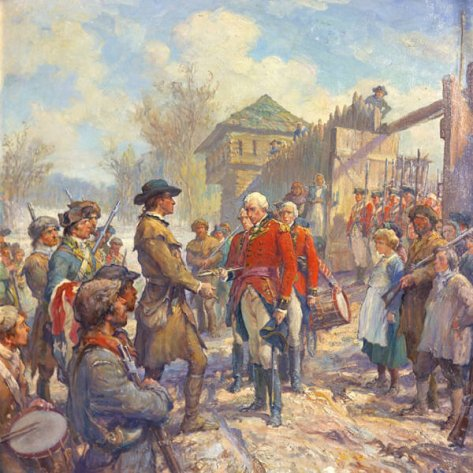 This painting depicts Henry Hamilton's surrender to George Rogers Clark at Fort Sackville near Vincennes, IN. Hamilton's surrender came after George Rogers Clark tomahawked four native men to death at the fort's gate to intimidate the British.