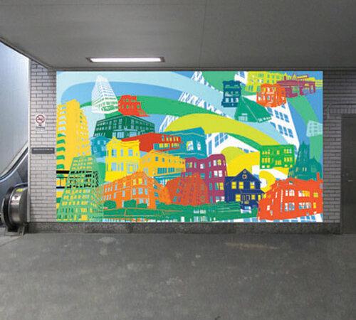 Kyungmi Shin,  Granville Avenue Buildings , mock-up proposal for the CTA's Granville Station public art mural.