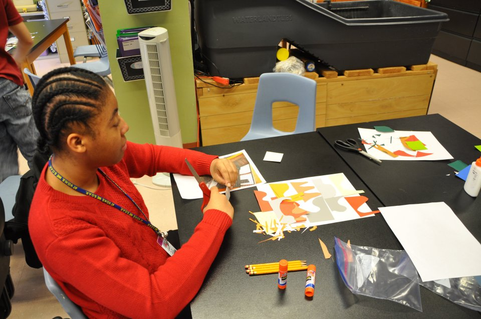 Using colored paper to represent the tones and proportions of color in our photos, we explored abstract designs and created collages.