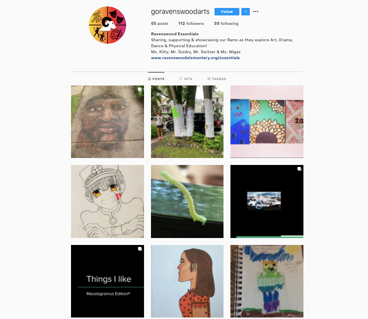 """What are some curatorial strategies for sharing artworks during stay-at-home? - """"5th - 8th grade students co-curated an online exhibition on Instagram. Each student crafted one element of a painting, photographed it, and wrote a statement about the work.""""~Ravenswood Elementary Teacher Kitty Conde and Teaching Artist John Neff"""