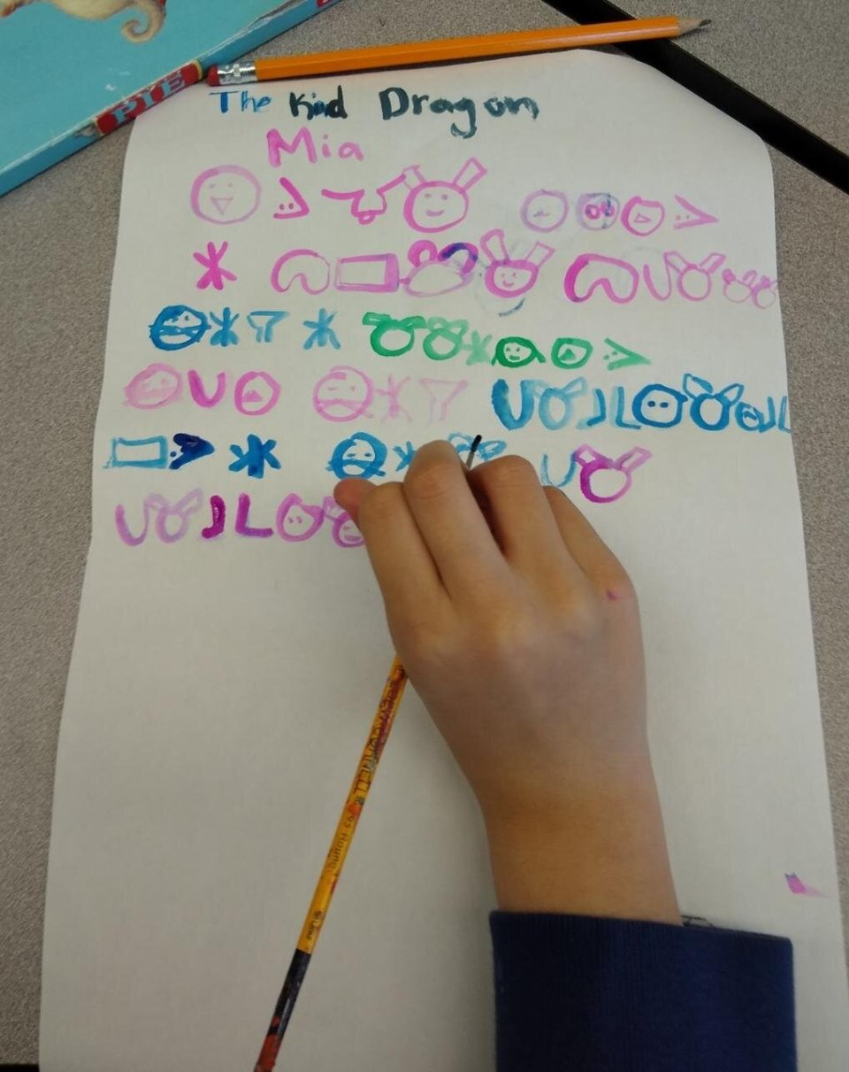 Students worked together to develop a class code and then worked to translate their stories onto their own scrolls.