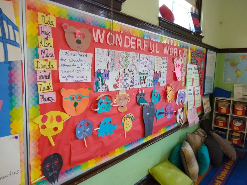 """One of our ongoing wall displays at school, """"Wonderful Work""""."""