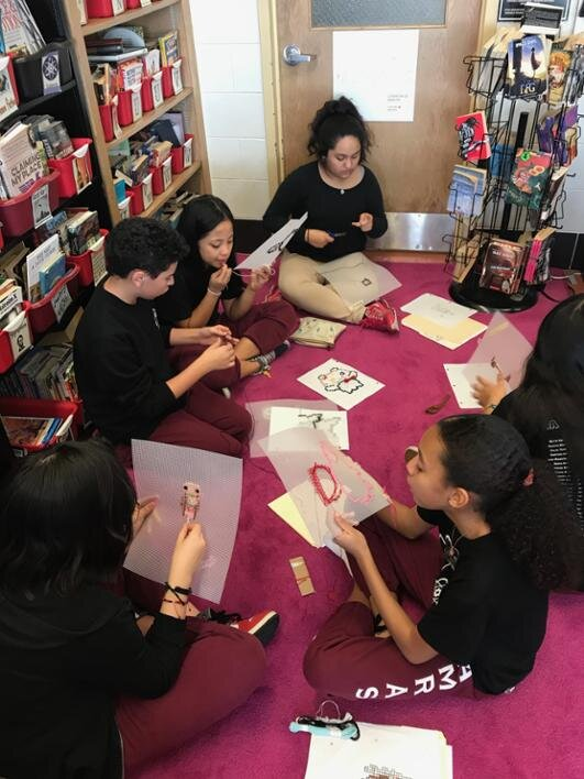 Students expressed how relaxing they found the craft of cross stitching, so much so that some students took their projects home to work on them.