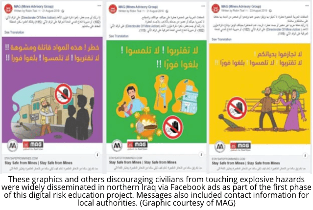 """Image from DipNote, the official blog of U.S. Department of State. Click on the image to learn more. - The partnership's goal was to provide """"risk education to Iraqis living in areas liberated from ISIS"""" who deal with landmines and other improvised explosive devices using Facebook ads [9]. The State Department is now looking to further the pilot program into a phase two where """"phase two will deliver risk education to more than nine million at-risk civilians in Iraq, Lebanon, Somalia, and Vietnam"""" [10]."""