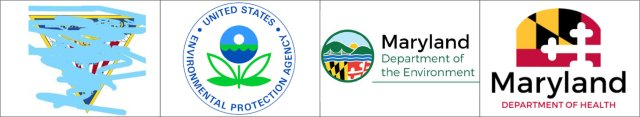 Logos of the Patuxent River NAS, USEPA, Maryland Department of the Environment, and the Maryland Department of Health. (Pax River threatened suit against me for unauthorized use of their insignia - hence, the redaction.)