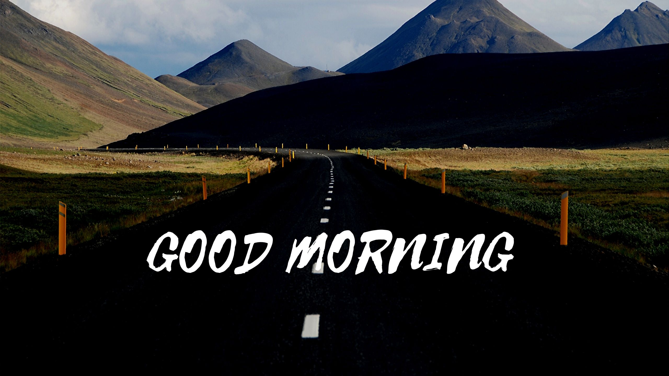 Good Morning Image of Road Mountain Green full HD free download.