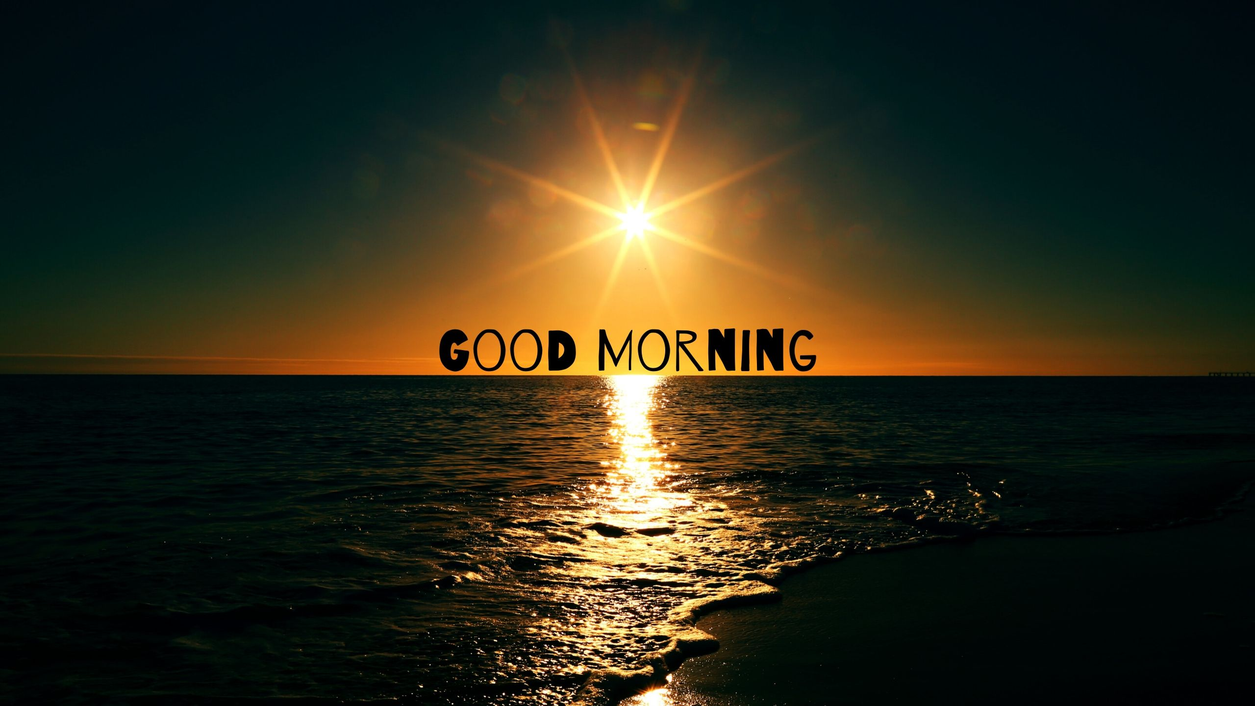 Good Morning Picture of Sun Rising Sea Side full HD free download.
