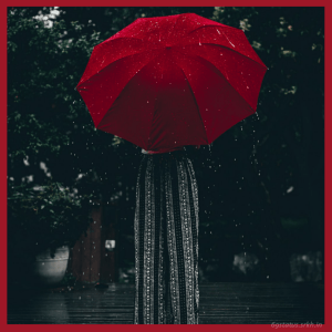 Sad Girl picture hd Standing Alone with a Red Umbrella full HD free download.