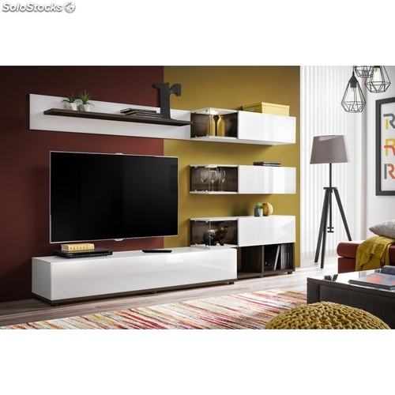 ensemble meuble tv mural abw silk 240 x 40 x 150 cm blanc