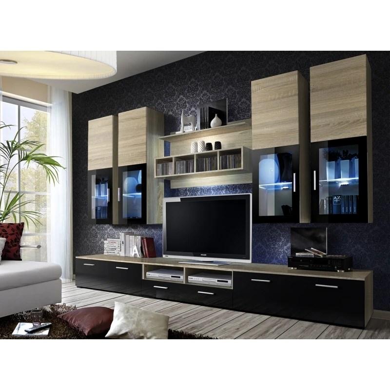 ensemble meuble tv mural lyra 300 cm x 190 cm x 45 cm chene