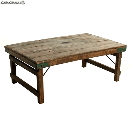 table basse en bois recupere style vintage industriel