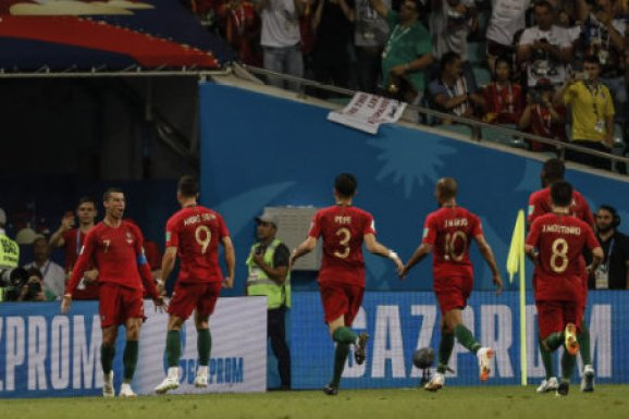 Cristiano Ronaldo (Portugal) celebrates his goal which made it (3,3) Russia World Cup match between Portugal vs Spanish at the Olympic Stadium of Sochi stadium in Sochi, Russia,…
