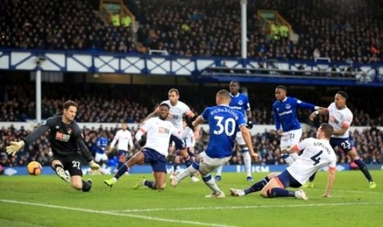 Everton's Richarlison has a shot at goal during the Premier League match at Goodison Park, Liverpool.