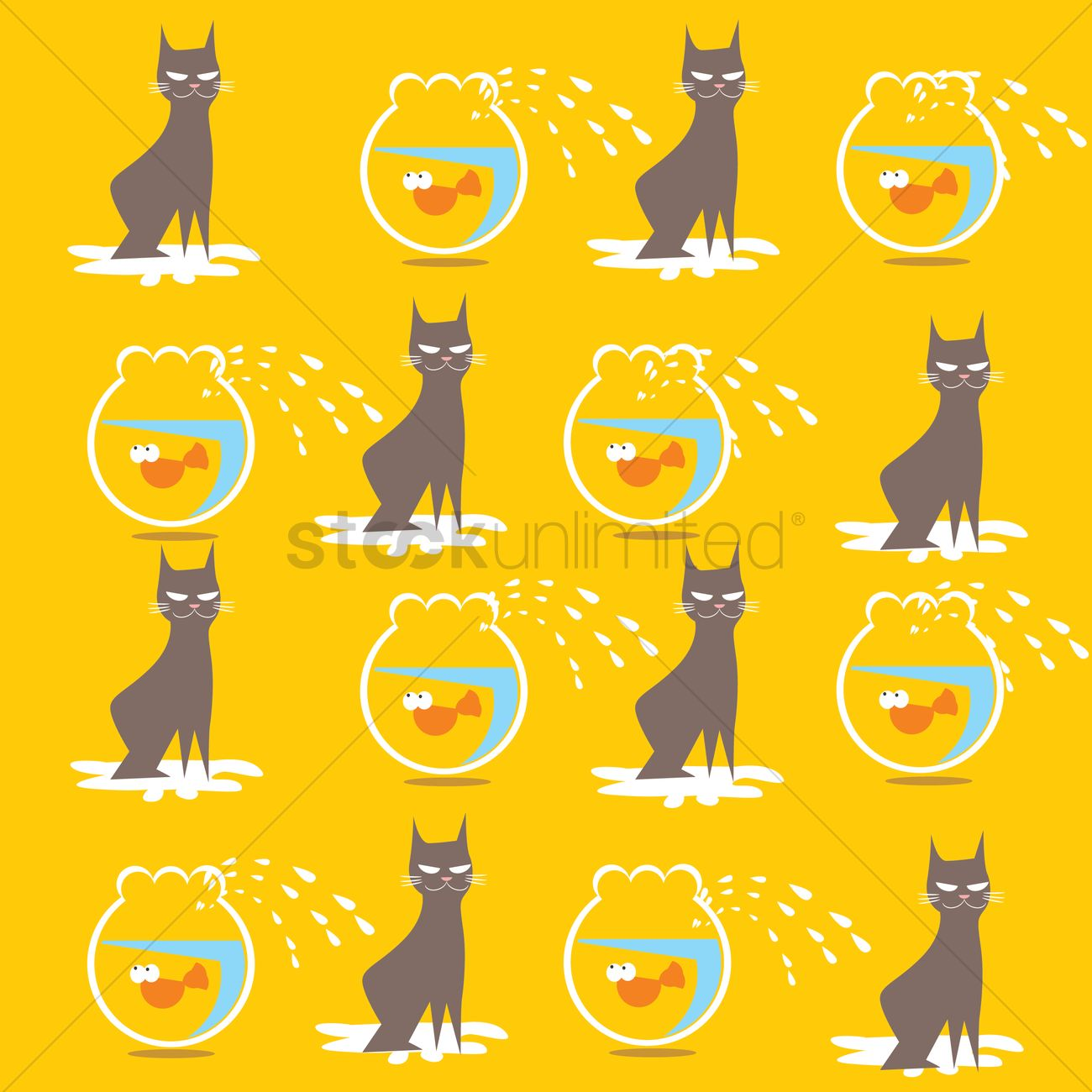Cat And Fish Bowl Pattern Background Vector Image