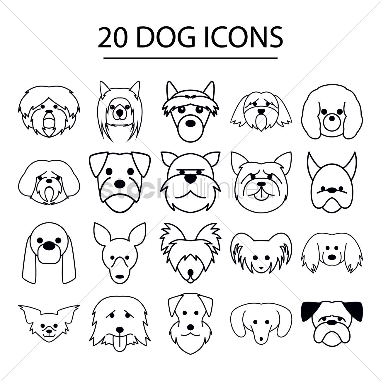 Set Of Dog Icons Vector Image