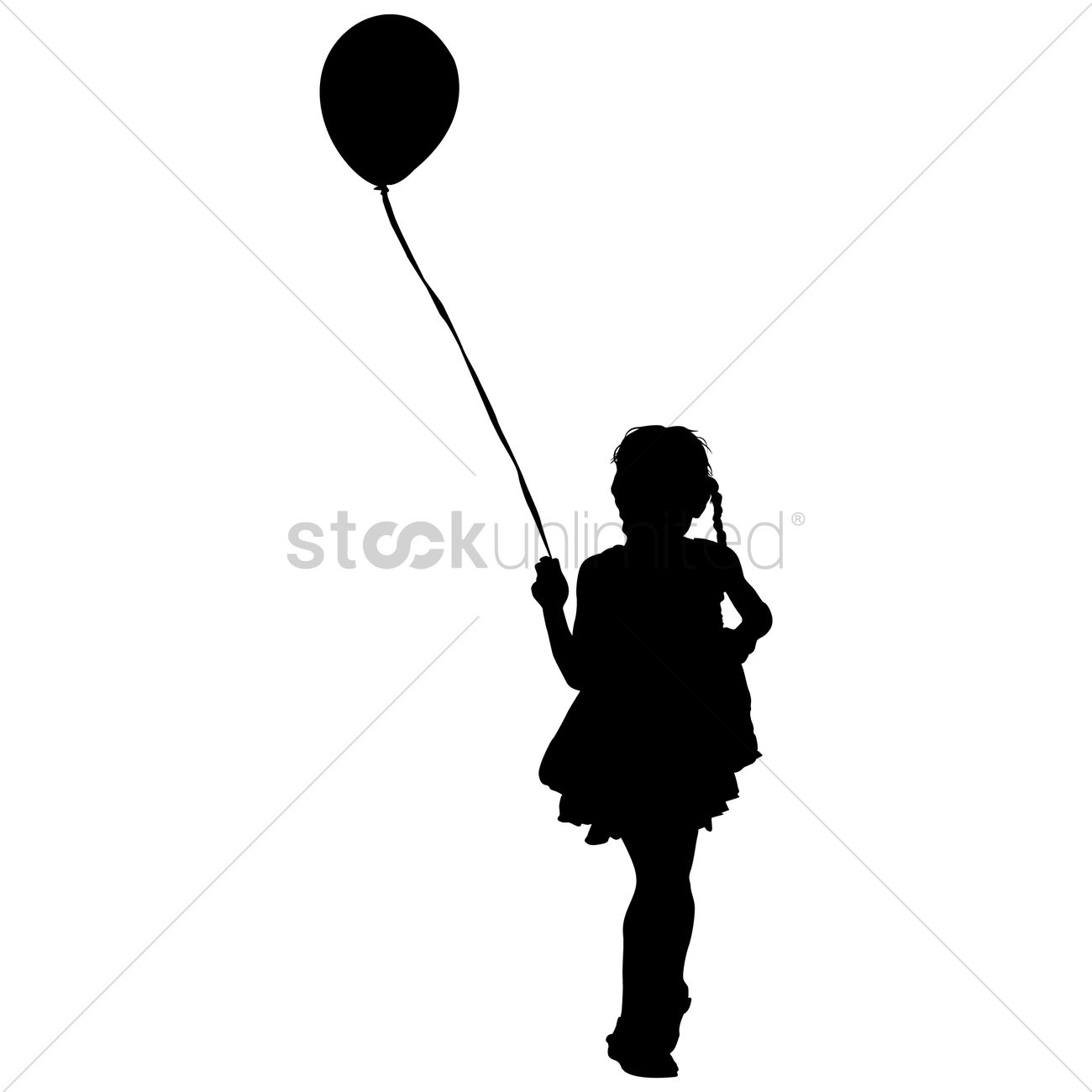 Silhouette Of A Girl Playing With Balloon Vector Image
