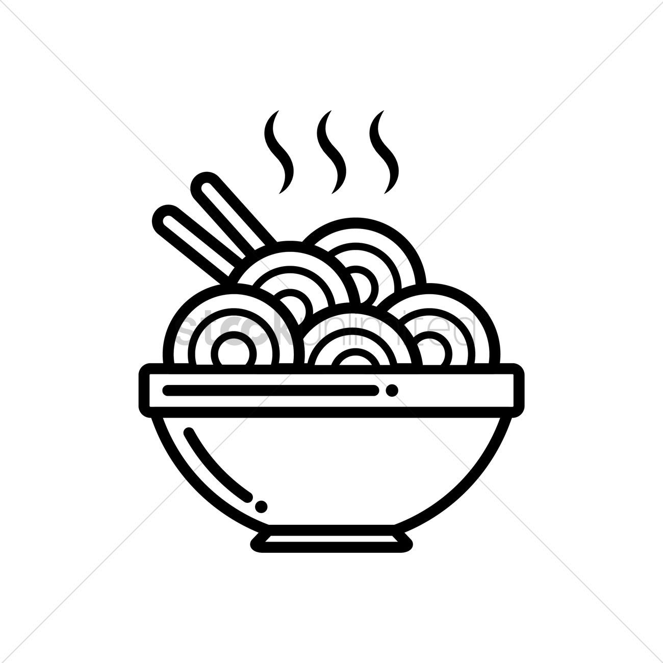 Steamy Bowl Of Hot Noodles Vector Image