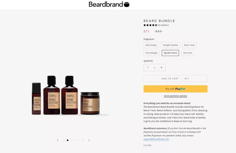 Beardbrand – Less known products bundle practice