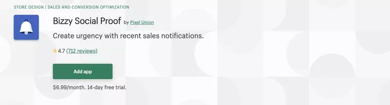 Recent Sales Notification App #3: Bizzy Social Proof