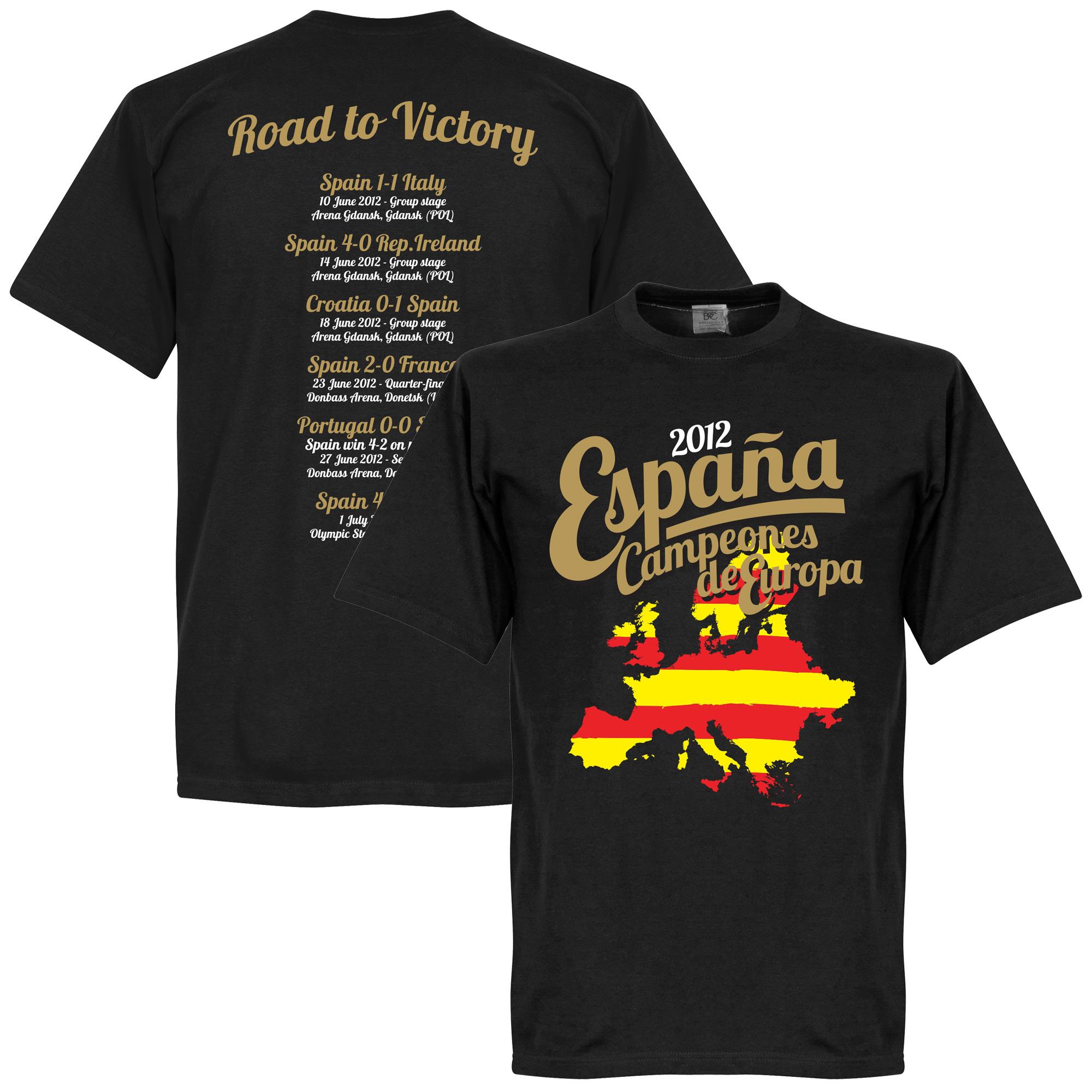 2012 Spain European Road To Victory Tee - Black - XS