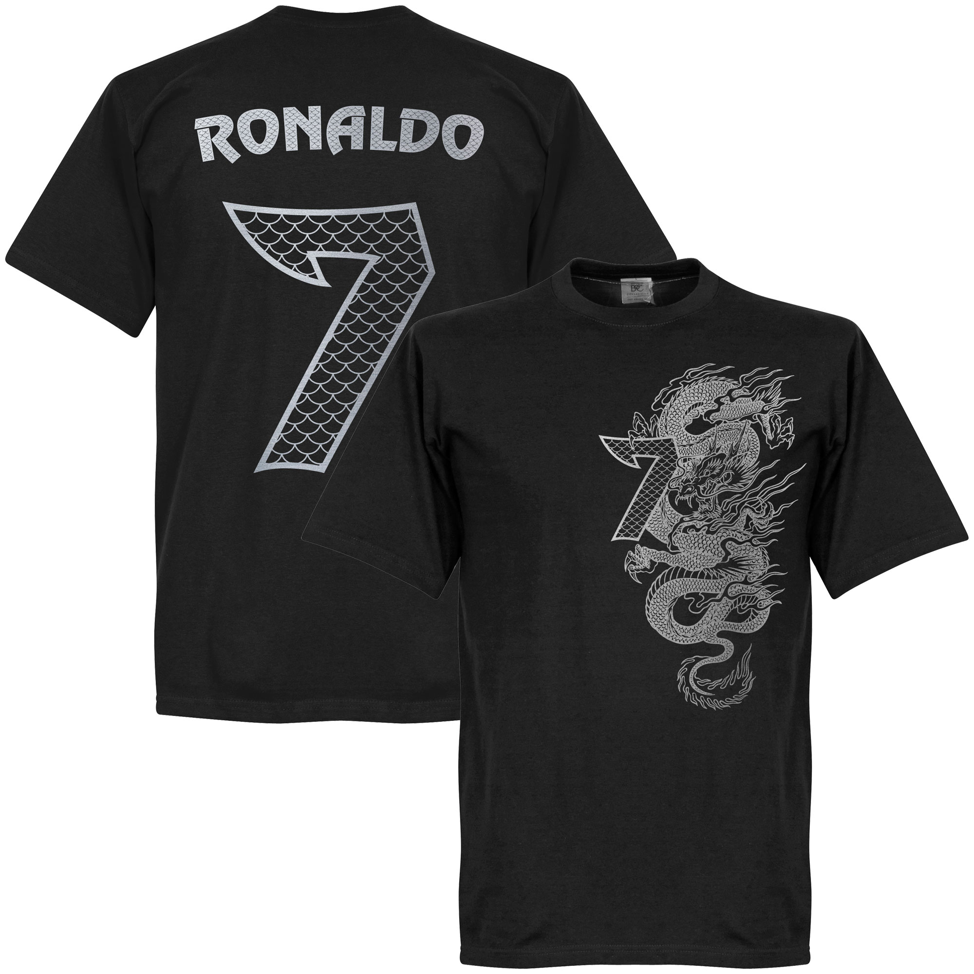 Ronaldo 7 Dragon Tee - Black/Silver - XL