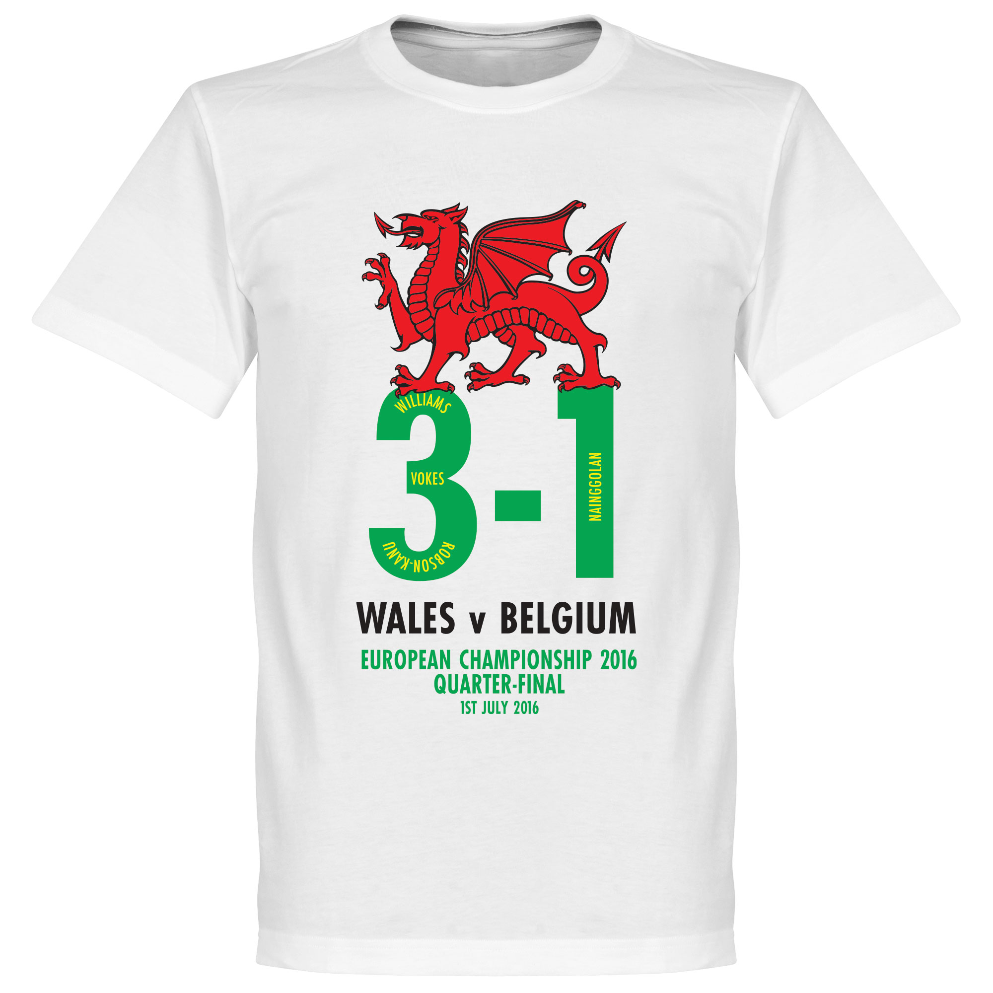 Wales v Belgium 3-1 Victory Commemorative Tee - White - L