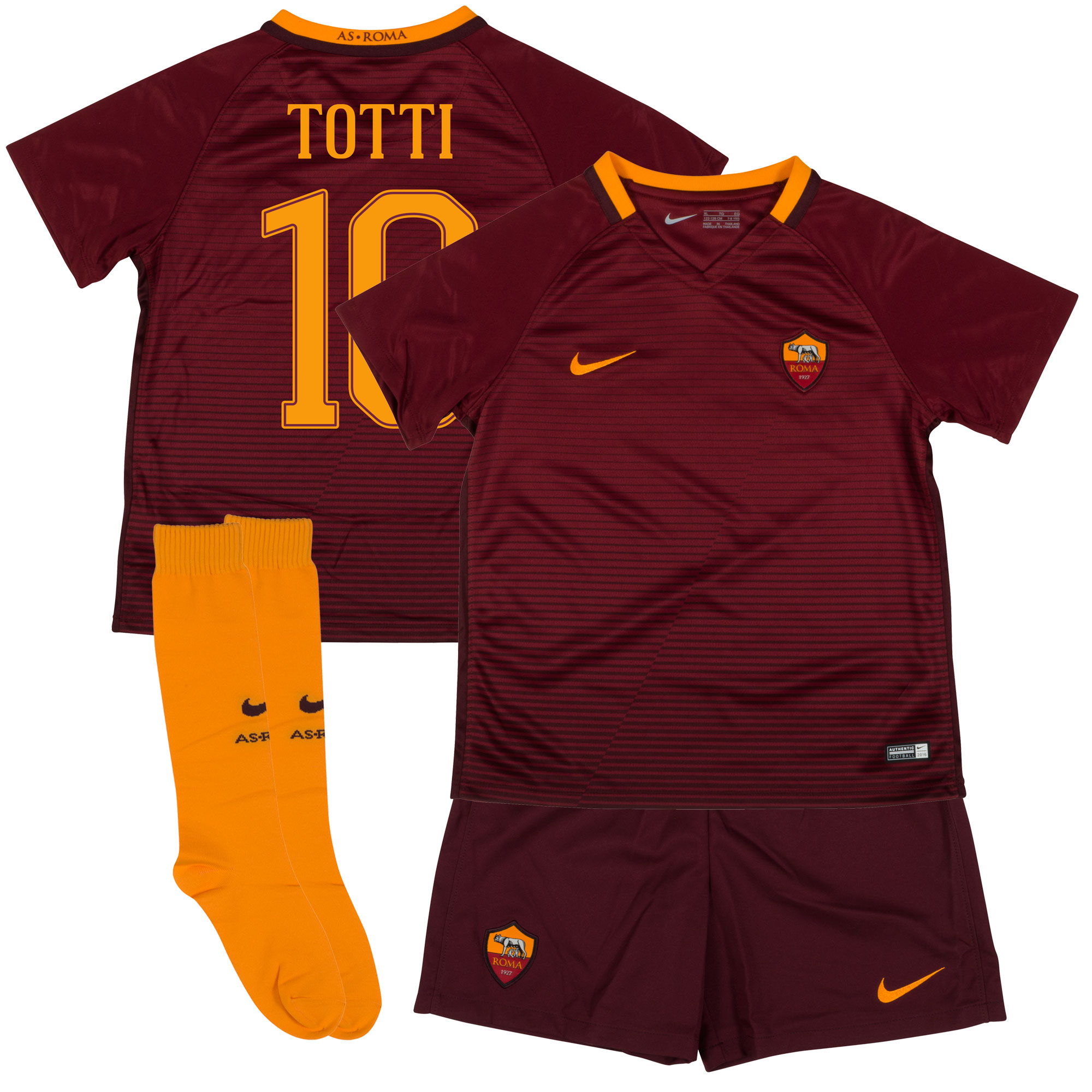 AS Roma Home Totti Little Boys Kit 2016 / 2017 (Fan Style Printing) - 110-116