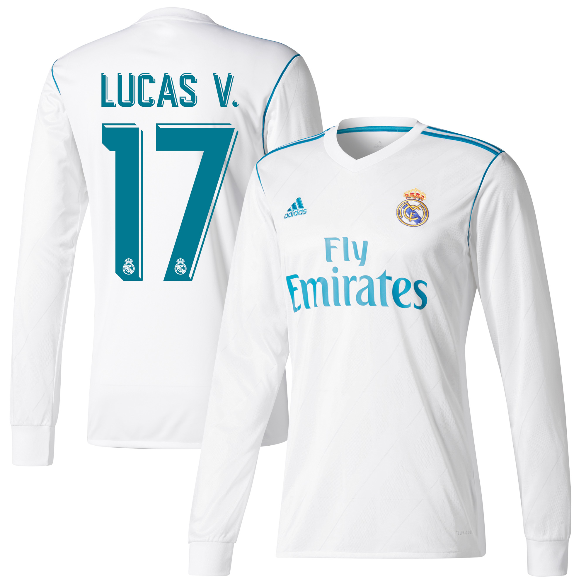 Real Madrid Home L/S Lucas V. Jersey 2017 / 2018 (Official Printing) - 42