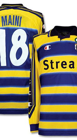 99-00 Parma Home L/S Players Jersey + Maini 18 - XL