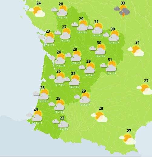 Prévisions pour mardi en milieu de journée (14-17 heures) en Nouvelle-Aquitaine