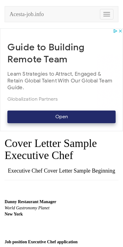 Executive Chef Cover Letter 20 Guides Examples