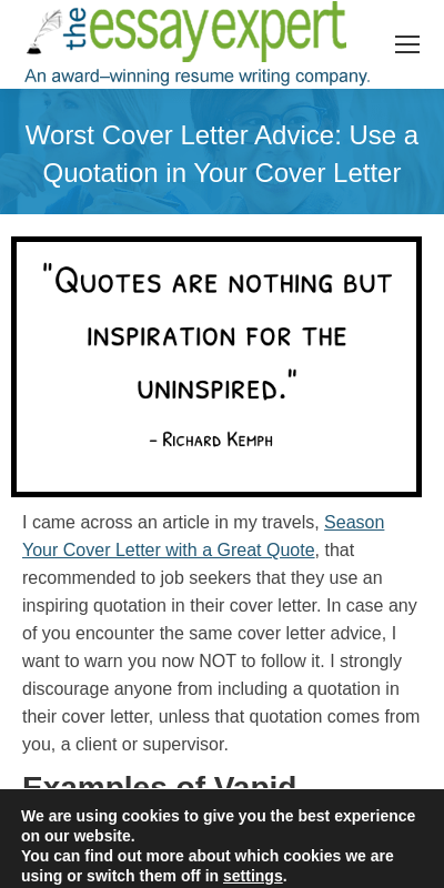 Quotes In Cover Letters 20 Guides Examples