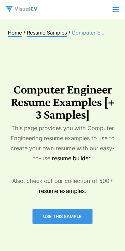 Build a new resume optimize your resume. Computer Engineering Resume Examples 20 Guides Examples