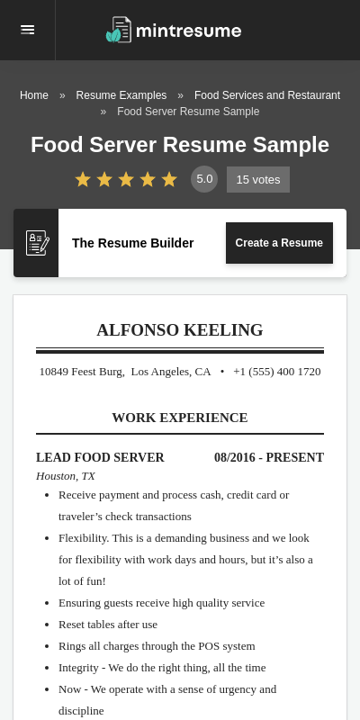 Find out what is the best resume for you in our ultimate resume format guide. Resume Examples Servers 20 Guides Examples