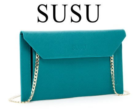 SUSU HANDBAGS Clutch in Teal sweepstakes