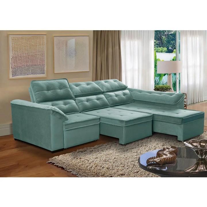 Sofá 5 Lugares Retrátil E Reclinável Dallas Com Chaise 2 90m Verde Megasul