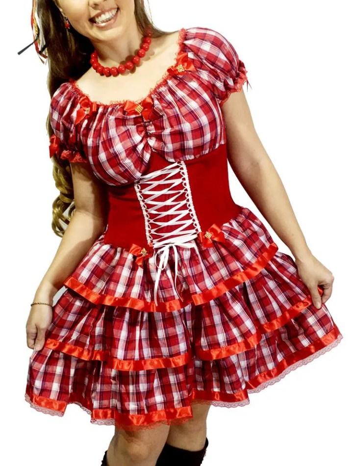 Vestido Quadrilha Festa Junina Caipira Xadrez Adulto Vermelho 2020