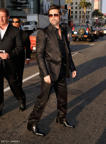 Brad Pitt wore a look from Tom Ford Menswear - a linen two piece suit,