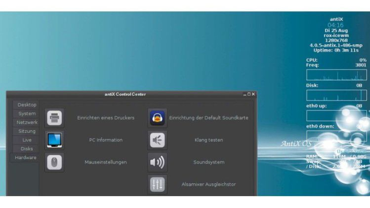 Antix is a full-fledged desktop system with extensive software.