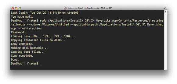 The createinstallmedia command in Terminal