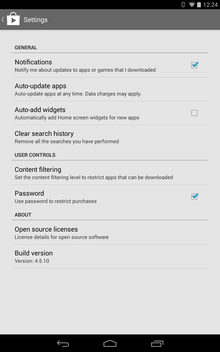 Google Play in-app settings