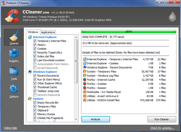 ccleaner free up disk space nvidia install files