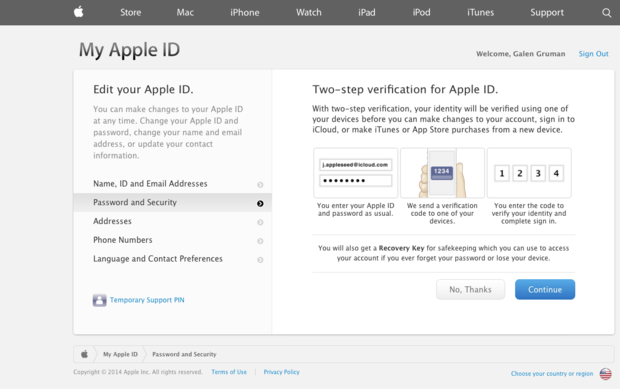 Enabling second-factor authentication for an Apple ID