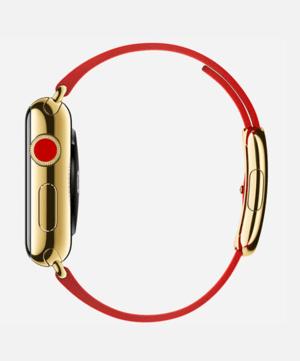relógio maçã edição yellowgold modernbuckle